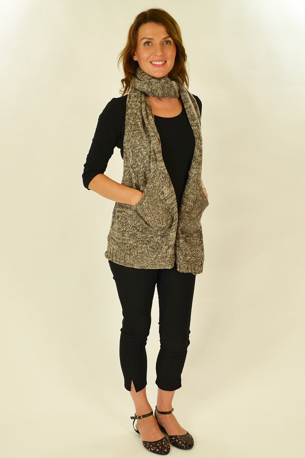 Brown White Pocket Scarf | I Love Tunics | Tunic Tops | Tunic | Tunic Dresses  | womens clothing online