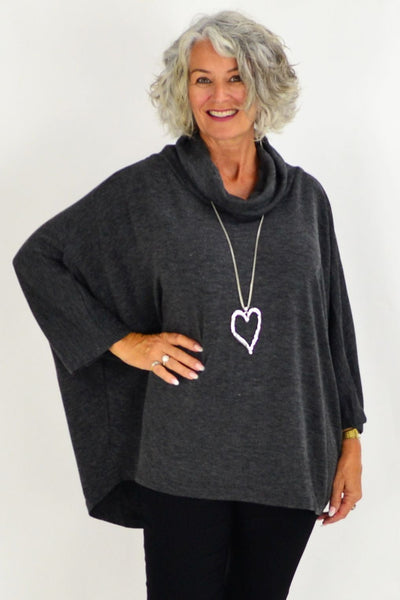 Grey Jessie Roll Neck Bamboo Wool Tunic | I Love Tunics | Tunic Tops | Tunic Dresses | Women's Tops | Plus Size Australia | Mature Fashion