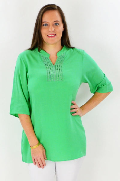 Green Nancy Tunic Top - at I Love Tunics @ www.ilovetunics.com = Number One! Tunics Destination