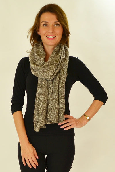 Brown White Pocket Scarf - at I Love Tunics @ www.ilovetunics.com = Number One! Tunics Destination