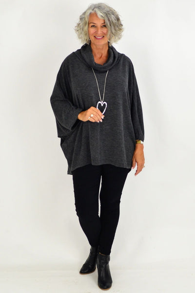 Grey Jessie Roll Neck Bamboo Wool Tunic