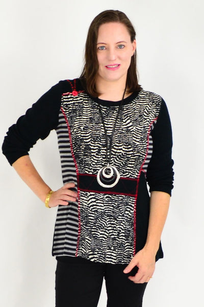 Black White Pumbaa Tunic Top | I Love Tunics | Tunic Tops | Tunic Dresses | Women's Tops | Plus Size Australia | Mature Fashion