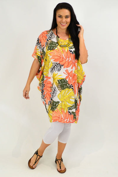 Orange Tropical Leaf Relaxed Tunic Dress | I Love Tunics | Tunic Tops | Tunic | Tunic Dresses  | womens clothing online