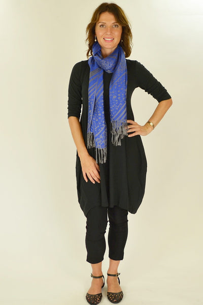 Royal Blue Silver Pashmina Scarf