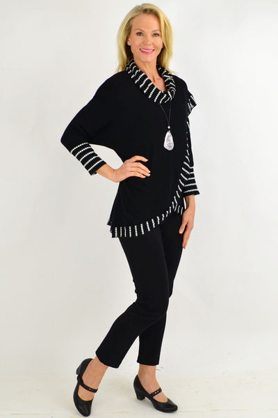 Black White Dot Rolled Neck Tunic Top | I Love Tunics | Tunic Tops | Tunic | Tunic Dresses  | womens clothing online