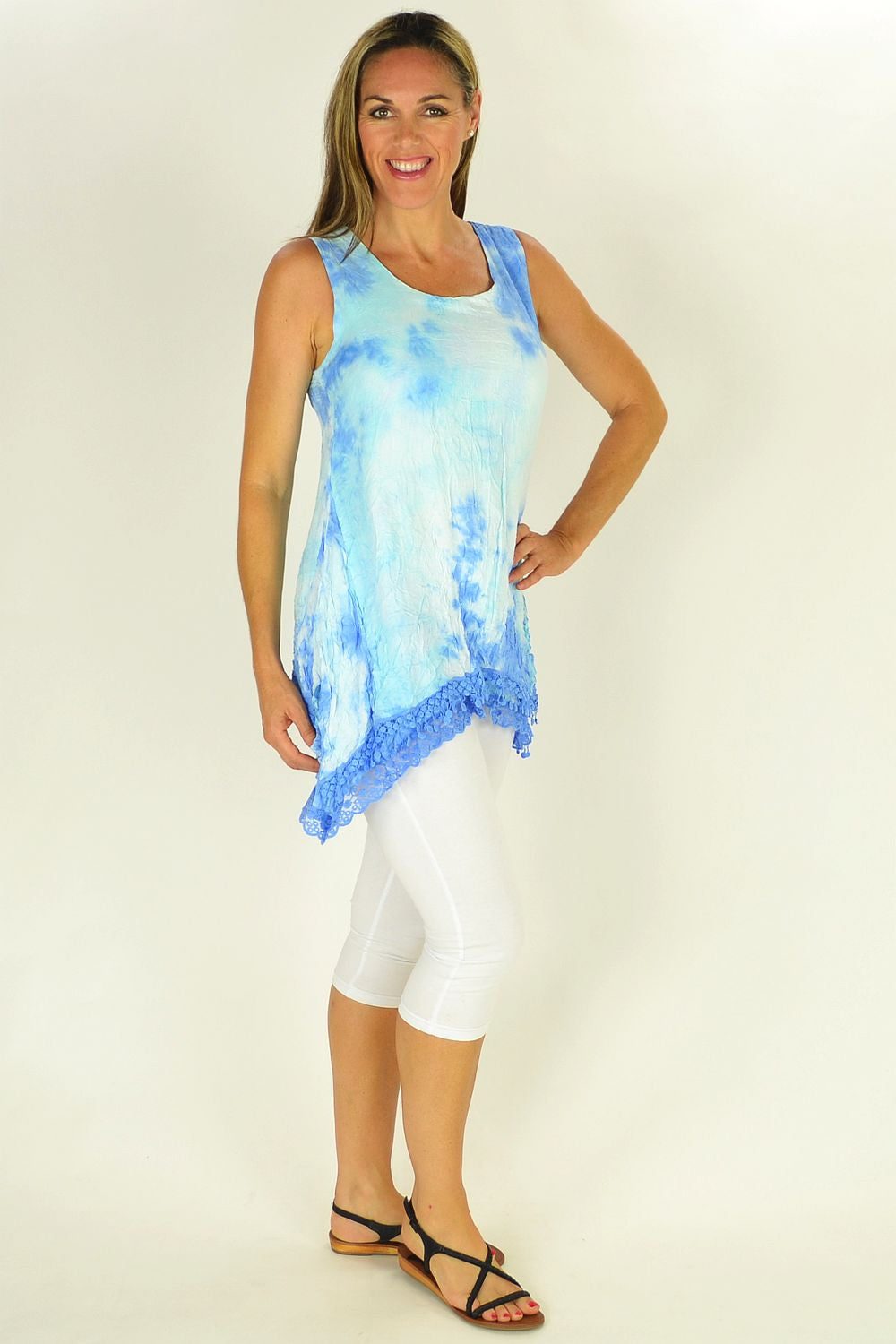 Sky Blue Threadz Tunic - at I Love Tunics @ www.ilovetunics.com = Number One! Tunics Destination