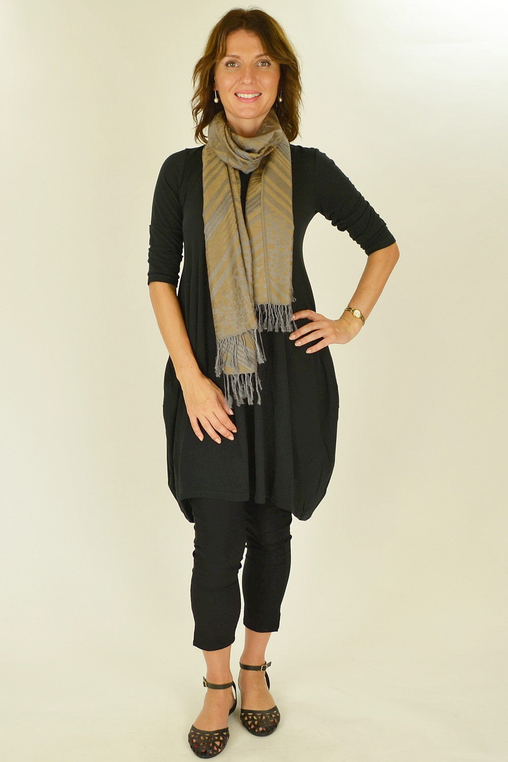 Coffee Golden Pashmina Scarf | I Love Tunics | Tunic Tops | Tunic | Tunic Dresses  | womens clothing online