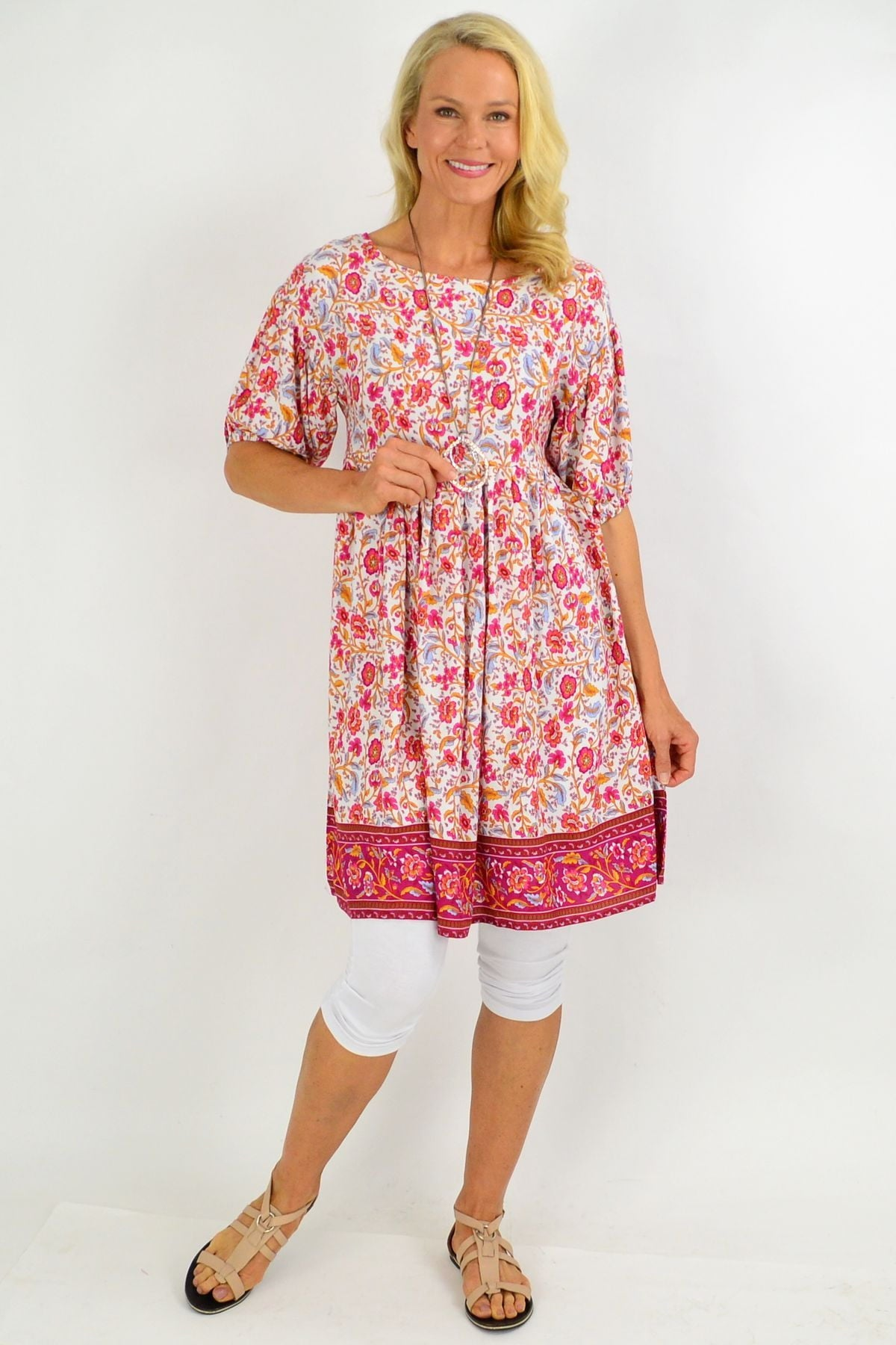 Pink Floral Puff Sleeve Tunic Dress