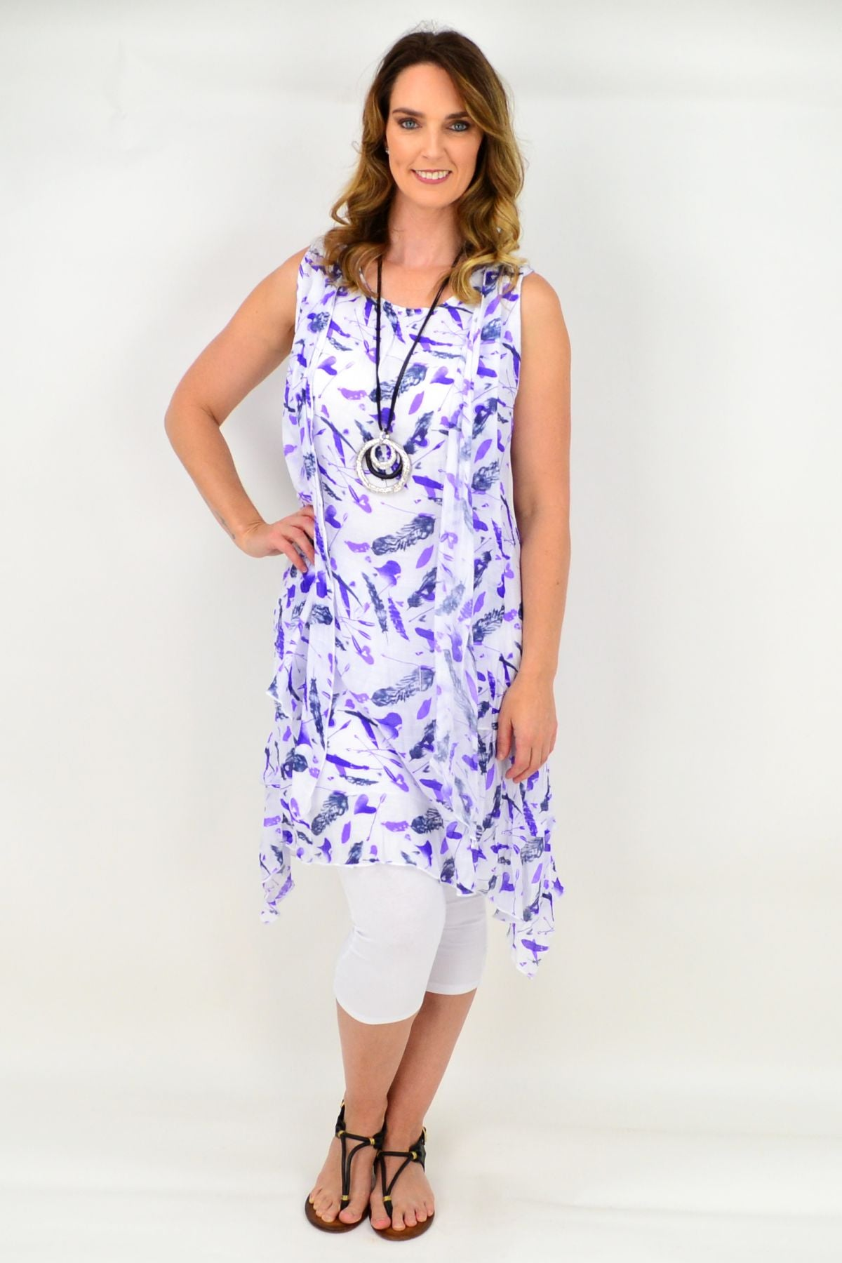 Purple Sparrow Feather Tunic Dress
