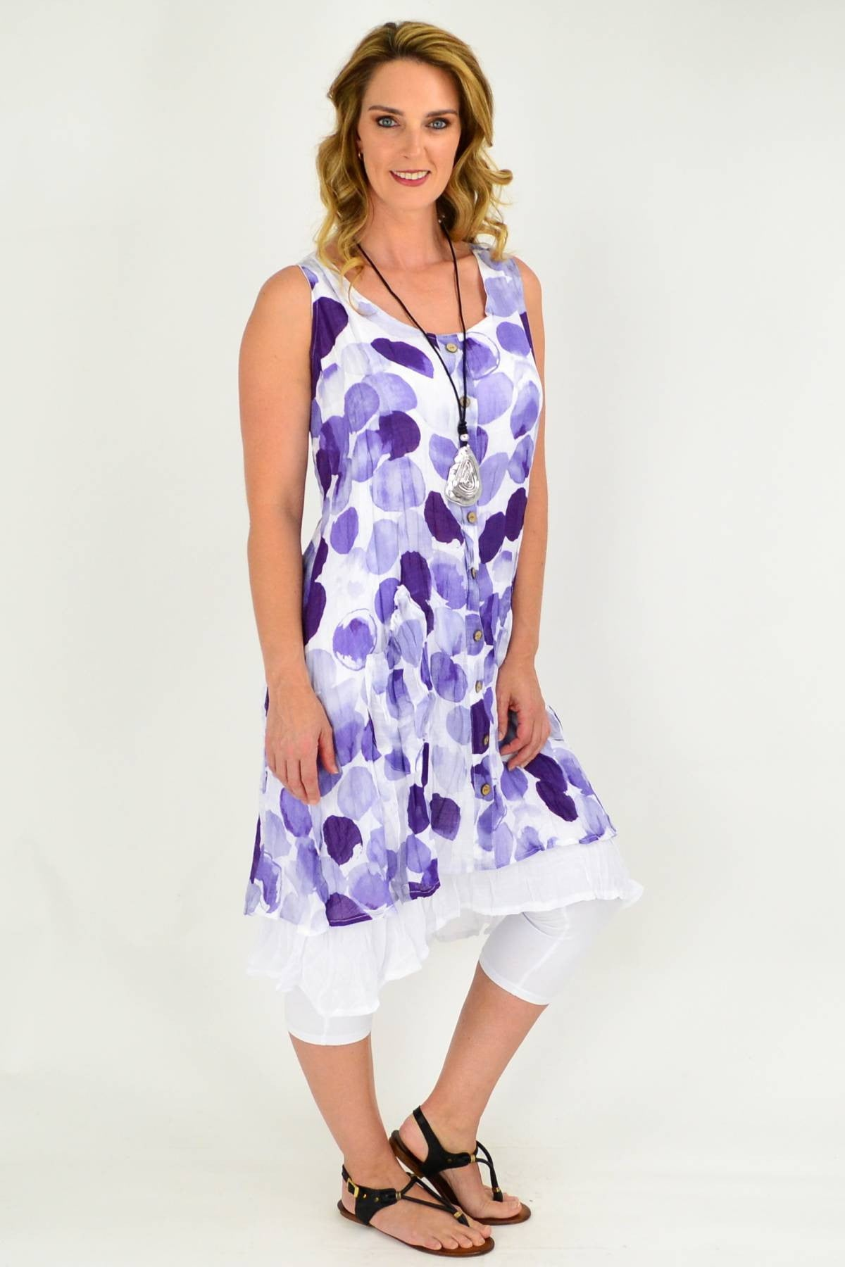 Purple Spot Double Layer Cotton Tunic Dress | I Love Tunics | Tunic Tops | Tunic | Tunic Dresses  | womens clothing online