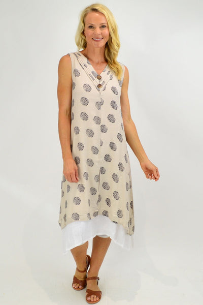 Sleeveless Oatmeal Dots Overlay Tunic Dress
