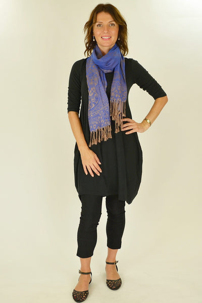 Royal Blue Golden Pashmina Scarf