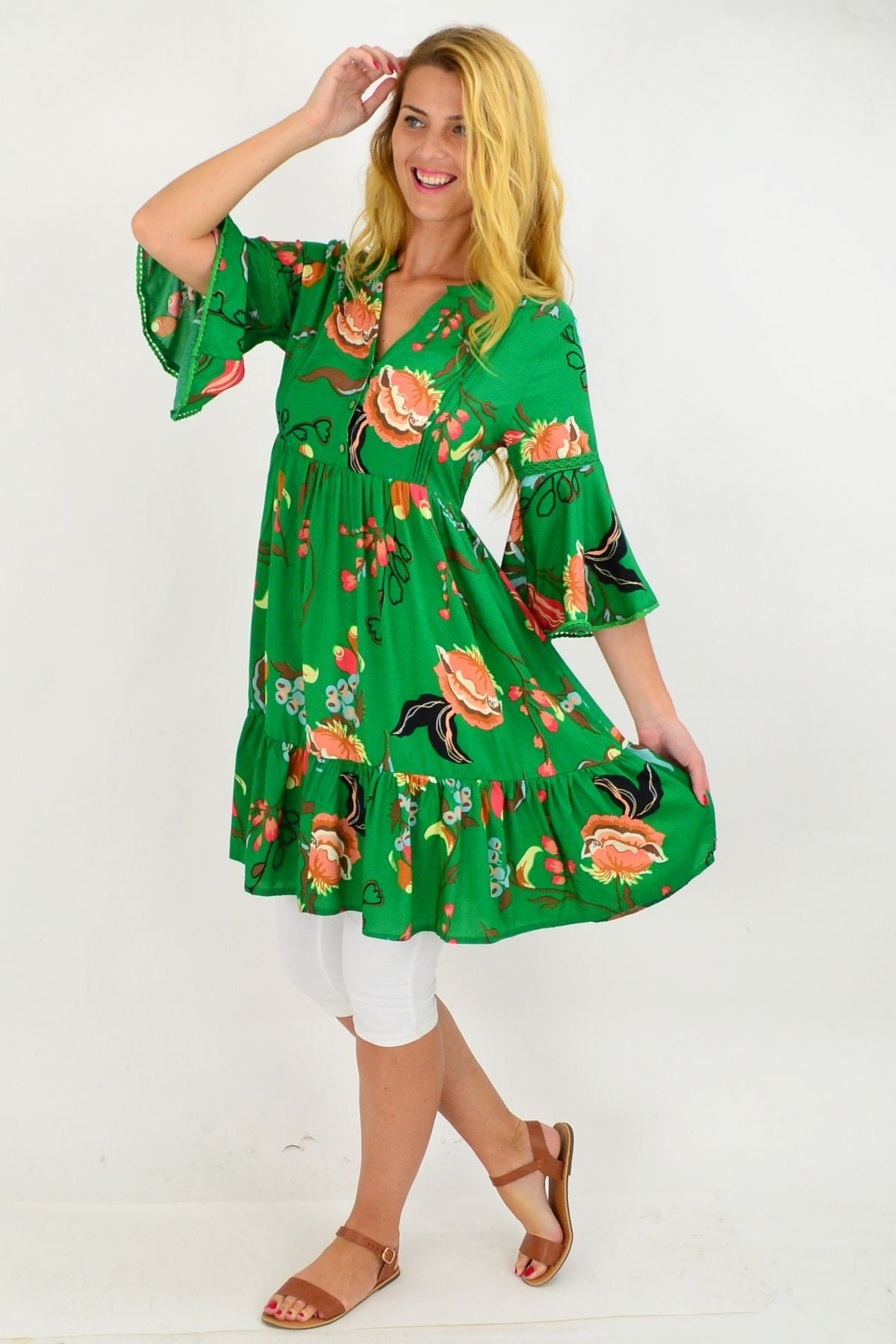 Green Betty Bell Sleeve Tunic Dress | I Love Tunics | Tunic Tops | Tunic | Tunic Dresses  | womens clothing online