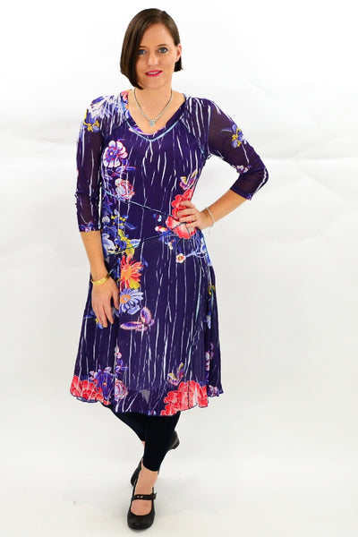Navy Oriental Style Long Tunic Dress