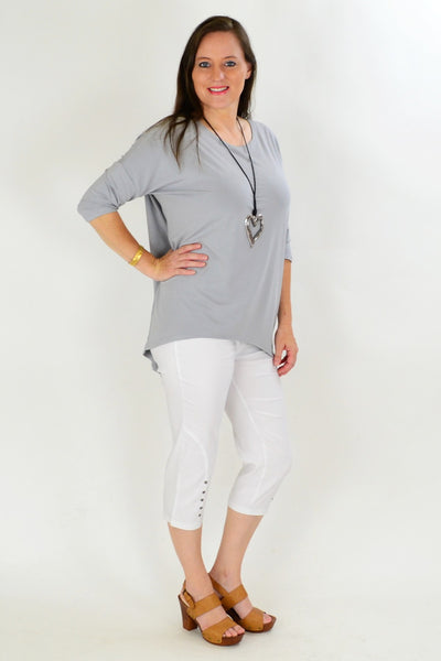 Grey Bamboo Tunic Top - at I Love Tunics @ www.ilovetunics.com = Number One! Tunics Destination
