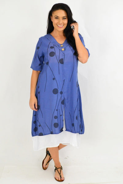 Denim Blue Dot Overlay Tunic Dress