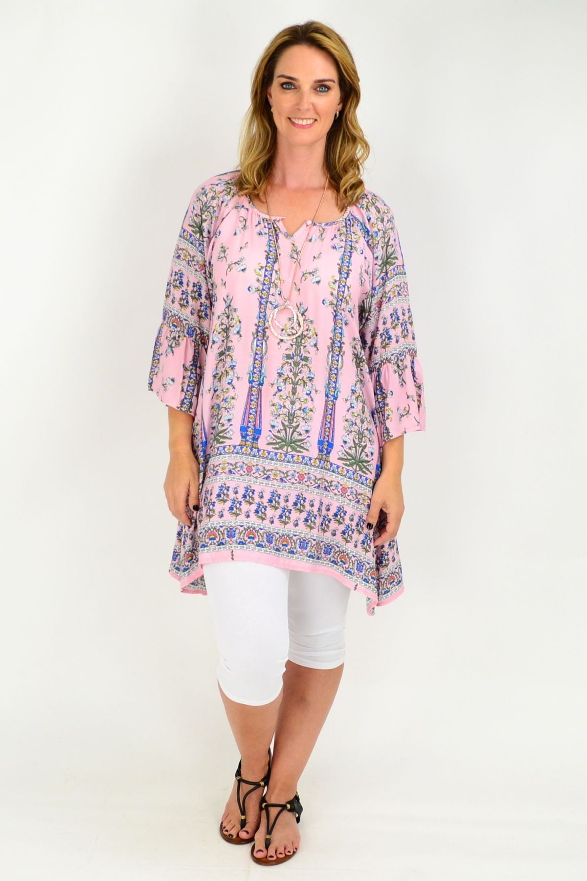 Pink Floral Bell Cuff Tunic Top | I Love Tunics | Tunic Tops | Tunic | Tunic Dresses  | womens clothing online