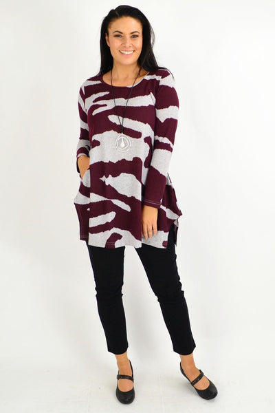 Burgundy Jersey Winter Fleece Tunic Top