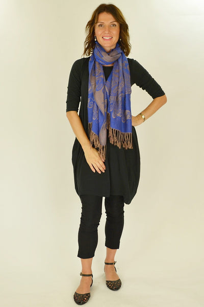 Navy Golden Pashmina Scarf