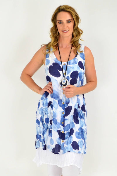 Blue Spot Double Layer Cotton Tunic Dress | I Love Tunics | Tunic Tops | Tunic Dresses | Women's Tops | Plus Size Australia | Mature Fashion