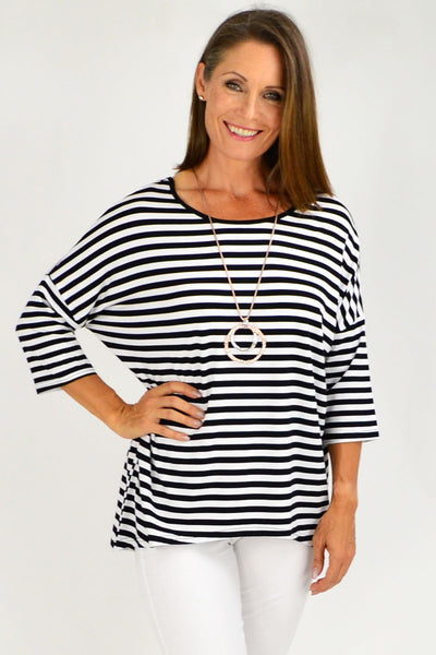 Black White Stripe Bamboo Tunic Top | I Love Tunics | Tunic Tops | Tunic Dresses | Women's Tops | Plus Size Australia | Mature Fashion
