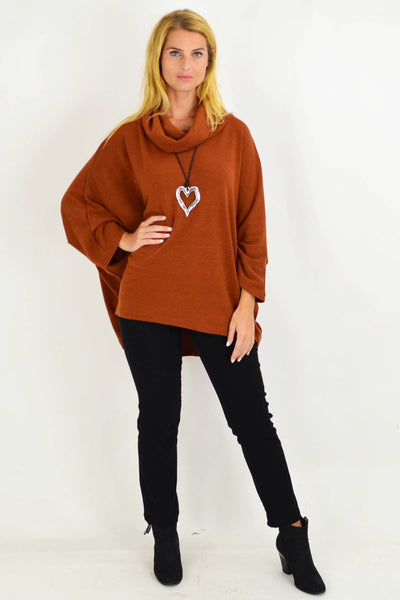 Caramel Jessie Roll Neck Bamboo Wool Tunic