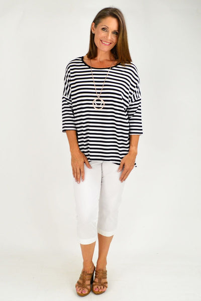 Black White Stripe Bamboo Tunic Top
