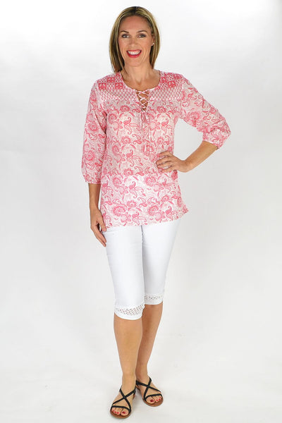 Red Niesha Tunic - at I Love Tunics @ www.ilovetunics.com = Number One! Tunics Destination