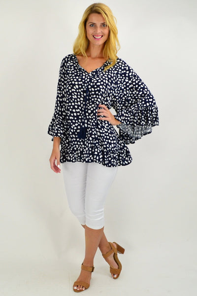 Navy White Spot Swing Tunic Top