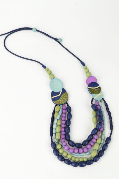 Green Purple Beads Necklace