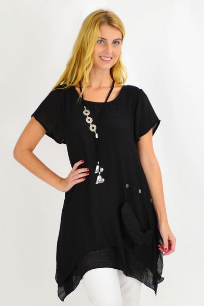 Black Kaleah Tunic Top | I Love Tunics | Tunic Tops | Tunic Dresses | Women's Tops | Plus Size Australia | Mature Fashion