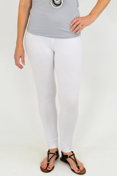 Full Length White Cotton Leggings