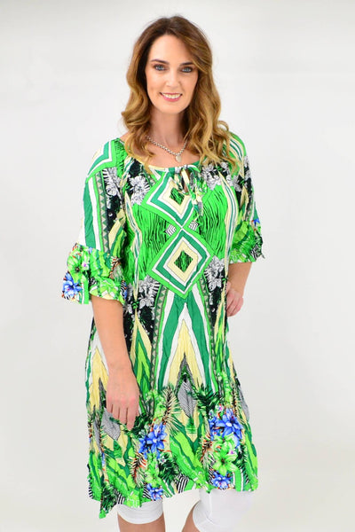 Green Stripe Crinkle Tie Tunic Blouse