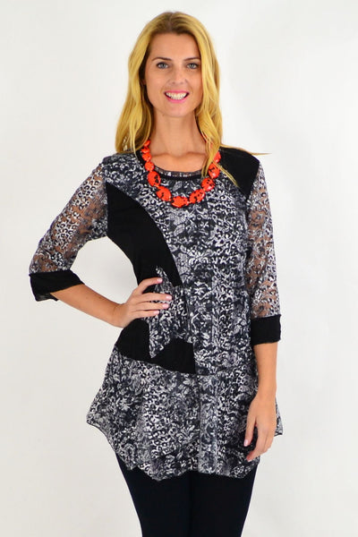 Black White Lace Star Tunic
