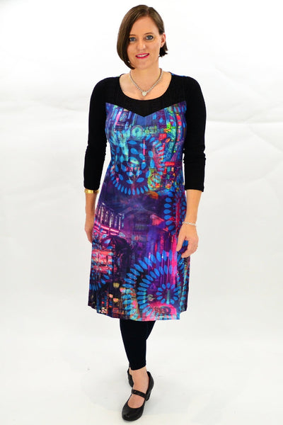 Purple Abstract Long Tunic Dress