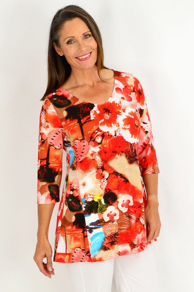Orange Floral Tunic Blouse