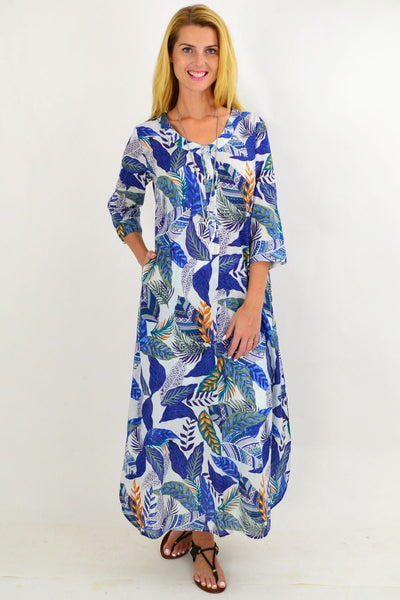 Blue Leaf One Summer Maxi Tunic Dress