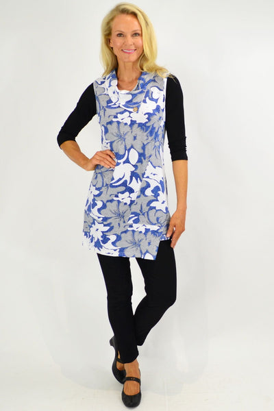 Blue Hibiscus Layering Tunic Top