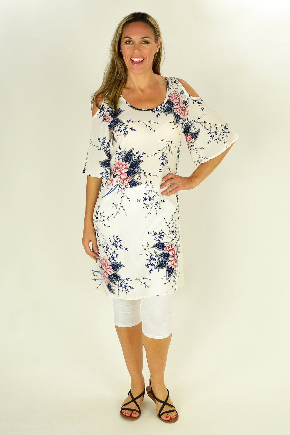 White Flower Tree Tunic - at I Love Tunics @ www.ilovetunics.com = Number One! Tunics Destination
