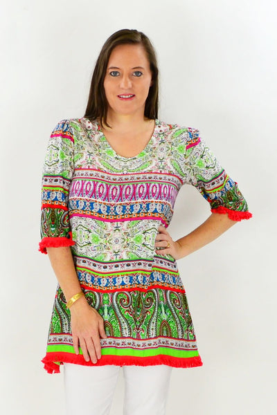 Alisha Tassel Tunic Top | I Love Tunics | Tunic Tops | Tunic Dresses | Women's Tops | Plus Size Australia | Mature Fashion