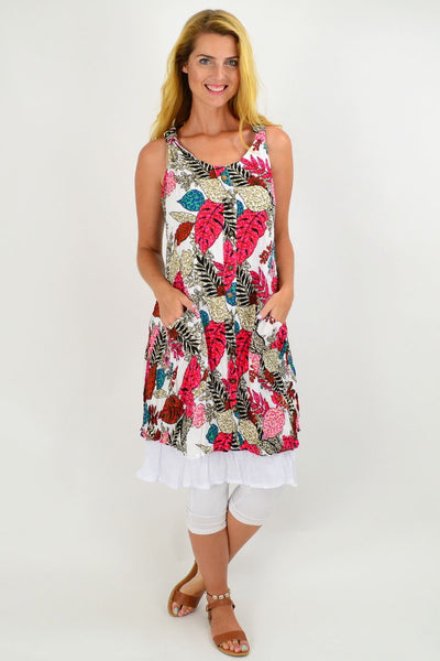 White Crinkle Leaf Tunic Dress