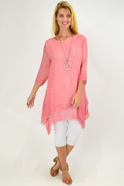 Pink Textured 3/4 Sleeve Overlay Tunic Top