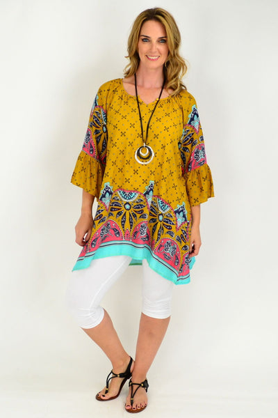 Mustard Yellow Aqua Floral Bell Cuff Tunic Top