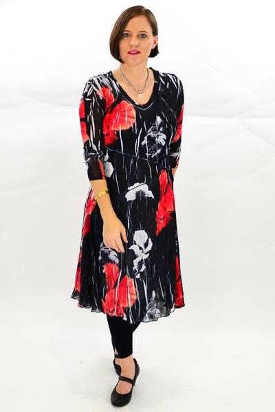 Red Oriental Style Tunic Dress
