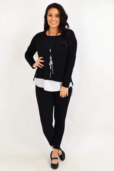 Black Button Double Layer Tunic Top | I Love Tunics | Tunic Tops | Tunic | Tunic Dresses  | womens clothing online