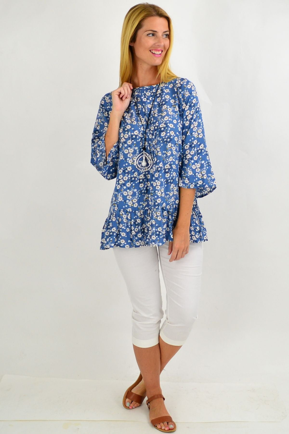 Blue White Floral Tunic Blouse | I Love Tunics | Tunic Tops | Tunic | Tunic Dresses  | womens clothing online