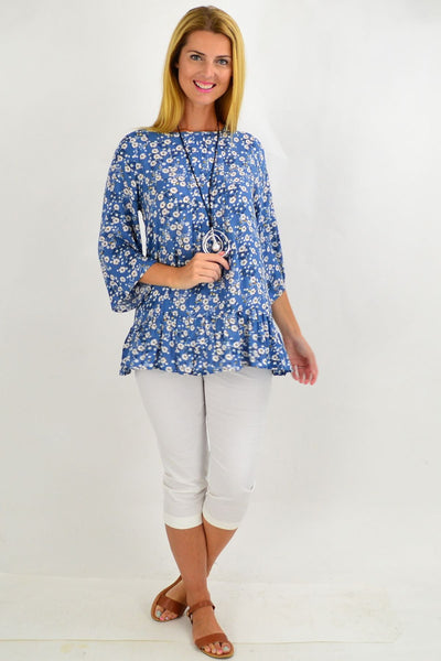 Blue White Floral Tunic Blouse