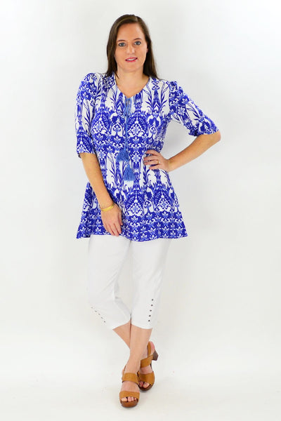 Blue Glass House Tunic Top
