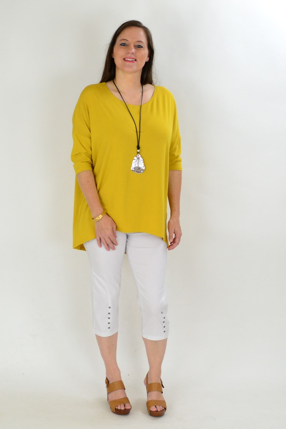 Mustard Bamboo Tunic Top - at I Love Tunics @ www.ilovetunics.com = Number One! Tunics Destination