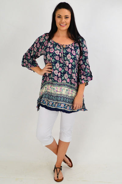 Navy Pink Floral Crinkle Tie Tunic Top